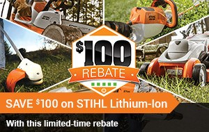 SAVE $100 on STIHL Lithium-Ion!